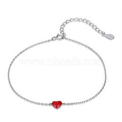 925 bracelets chaînes de câbles en émail d'argent sterling, bracelets de liaison, sculpté avec 925, rouge, 8-5 / 8 (22 cm)(BJEW-FF0008-002P)