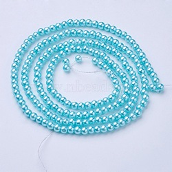 perles en verre perles brins, pearlized, arrondir, lightcyan, 4 mm, trou: 0.8~1 mm, environ 216 pcs / brin, 32(X-HY-4D-B12)