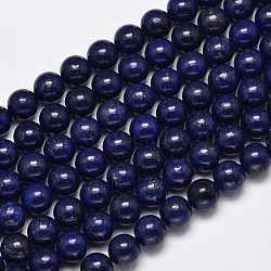 Dyed Natural Lapis Lazuli Round Beads Strands, 10mm, Hole: 1mm; about 39pcs/strand, 15.7