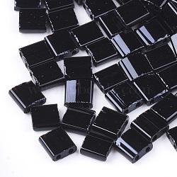 2-trou perles rocailles en verre opaque, rectangle, noir, 5x4.5~5.5x2~2.5mm, Trou: 0.5~0.8mm(X-SEED-S023-08E)