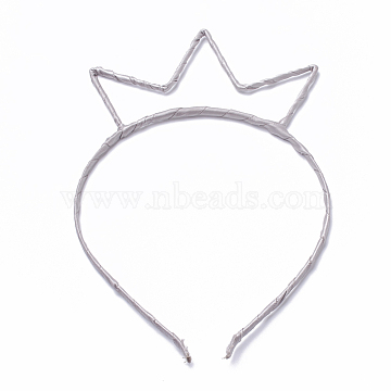 Hair Accessories Iron Hair Band Findings, with Cloth, LightGrey, 110~125mm; 4mm(OHAR-T002-01A)