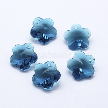 Transparent Glass Pendants, Faceted, Flower Charms, Steel Blue, 13x13.5x8mm, Hole: 1.5mm(X-GLAA-P037-03-03)