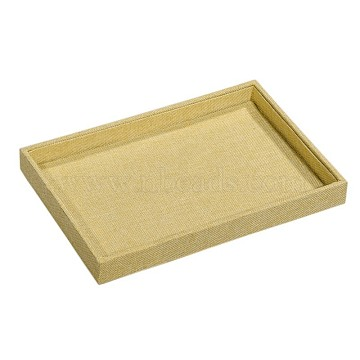 Cuboid Synthetic Wood Jewelry Displays, Covered with Burlap Cloth, LightKhaki, 300x200x30mm(ODIS-N008-B-03)