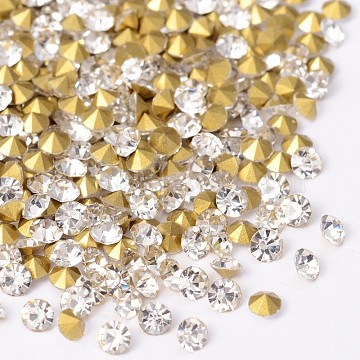 Back Plated Diamond Glass Pointed Rhinestone, Crystal, 2.3~2.4mm; about 1440pcs/bag(RGLA-SS8-001)