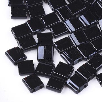 2-Hole Opaque Glass Seed Beads, Rectangle, Black, 5x4.5~5.5x2~2.5mm, Hole: 0.5~0.8mm(X-SEED-S023-08E)