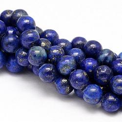 Natural Lapis Lazuli Round Beads Strands, Dyed, 10mm, Hole: 1mm; about 38pcs/strand, 15.5