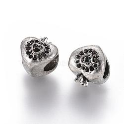 Style tibétain supports strass perles européennes grand trou, cœur, sans plomb et sans nickel, argent antique, adapter pour 0.5 & strass 2mm; 11x10x9.5mm, Trou: 5mm(X-TIBEB-M026-13AS-FF)