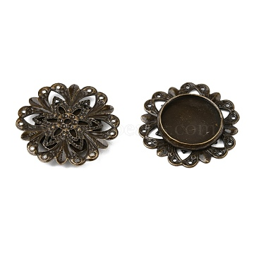Antique Bronze Brass Flower Cabochon Settings for Jewellery Making, Nickel Free, 20x3mm; Flat Round Tray: 12mm(X-KK-L006-AB-NF)