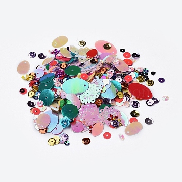 Plastic Paillette/Sequins Beads, Mixed Color, 1.4~22x1.4~18.5x0.2~2.2mm, Hole: 1.2~1.5mm(PVC-MSMC001-02)