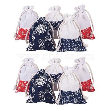 NBEADS Cotton and Linen Cloth Pouches, Drawstring Bags, with Flower Pattern, Mixed Color, 12~14.2x9.8~10.5cm; 5pcs/color, 20pcs/set(ABAG-NB0001-08)