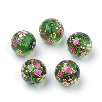 Printed Glass Beads, Round with Flower Pattern, Green, 11~12x11mm, Hole: 1.5mm(GFB-Q001-12mm-E05)