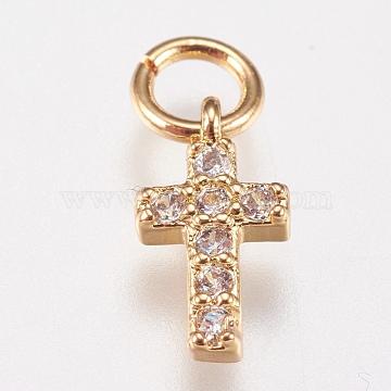Brass Cubic Zirconia Charms, Cross, Golden, 9x5x1.5mm, Hole: 2mm(X-ZIRC-E147-62G)