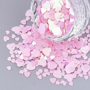 Ornament Accessories, PVC Plastic Paillette/Sequins Beads, Heart, Pearl Pink, 3~5.5x3~5.5x0.4mm(X-PVC-S035-009)