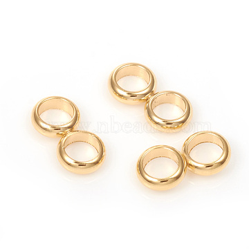 304 Stainless Steel Spacer Bars, Double Ring, Golden, 12x6x2mm, Hole: 4mm(X-STAS-G224-19G-06)