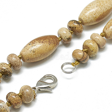 Natural Picture Jasper Beaded Necklaces(NJEW-S388-07)-2