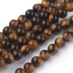 Natural Tiger Eye Beads Strands,  Round, Goldenrod, 6mm, Hole: 1mm  30pcs/strand, 7.4inches