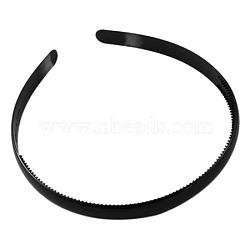 Accessoires de bande de cheveux en plastique, noir,  largeur de 8 mm(PJH103Y-10)