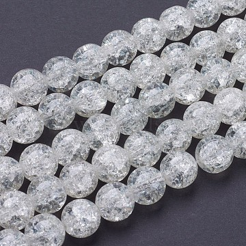 1 Strand Transparent Crackle Glass Round Beads Strands,12mm, Hole: 1.3~1.6mm; about 66pcs/strand, 31.4inches(X-CCG-Q001-12mm-01)