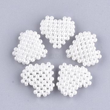 23mm White Heart Plastic Beads