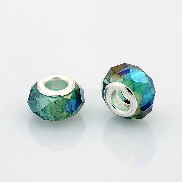 AB Color Plated Glass European Beads, Large Hole Rondelle Beads, with Silver Color Plated Brass Cores, Faceted, Teal, 14x9mm, Hole: 5mm(GPDL-J026-AB02)