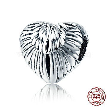 925 Sterling Silver European Beads, Large Hole Beads, Heart with Wing, Antique Silver, 11x11mm, Hole: 4.2~4.5mm(STER-FF0009-08AS-13)