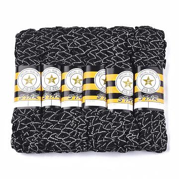 Polypropylene Fiber Ribbons, with Golden Metallic Cord, Wave Shape, Black, 7~8mm; 15yard/bundle, 6bundles/bag(SRIB-S050-A02)