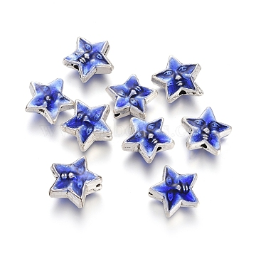 Antique Silver Plated Alloy Beads, with Enamel, Star with Face, Blue, 11.5x12x5mm, Hole: 1.4mm(ENAM-L032-I01-AS)