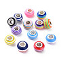 Resin European Beads, Large Hole Beads, with Silver Color Plated Brass Cores, Rondelle, Mixed Color, 14x8.5mm, Hole: 5mm