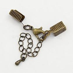 Rallonge de chaîne en laiton bronze antique avec fermoirs pince de homard et extrémités de sertissage repliables, chaîne: 3.5mmx50mm; embout de cordon: 5x13mm; fermoir: 12x7.5x3mm(X-CHC-KK95-AB)