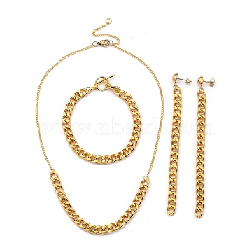 Chain Necklaces & Bracelet & Dangle Earring Sets, with Aluminum Curb Chains, Brass Twisted Chains, 304 Stainless Steel Lobster Claw Clasps & Stud Earring Findings, Alloy Toggle Clasps, Golden, 15.94 inches(40.5cm), 7-5/8 inches(19.5cm), 115mm, Pin: 0.7mm(SJEW-JS01119)