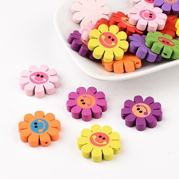 23mm Mixed Color Flower Wood Beads