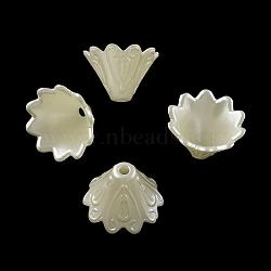 Multi-Petal Flower ABS Plastic Imitation Pearl Bead Caps, Creamy White, 10x15mm, Hole: 2mm(X-OACR-R016-25)
