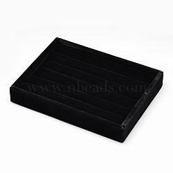 Bois parallélépipédiques bagues bijoux affiche, recouvert de velours, avec une éponge à l'intérieur, noir, 20x15x3.2 cm(RDIS-L001-02A)