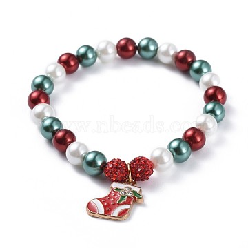 Alloy Enamel Charm Bracelets, with Dyed Glass Pearl Round Beads and Polymer Clay Rhinestone Round Beads, Christmas Boots, Colorful, 2 inches(5.1cm)(X-BJEW-JB04511-05)