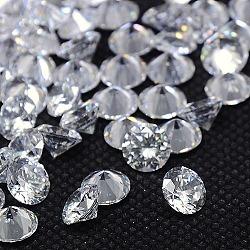 Cabochons en zircone cubique, Grade a, facette, diamant, clair, 1.3mm(ZIRC-M002-1.3mm-007)