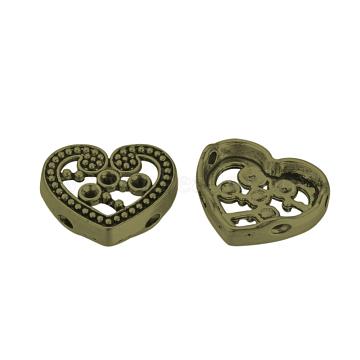 Tibetan Style Alloy Cabochon Rhinestone Settings, Cadmium Free & Nickel Free & Lead Free, Heart, Antique Bronze, Fit for 2mm rhinestone, 14x17x4mm, Hole: 1.5mm(X-TIBE-Q070-94AB-NR)