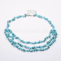 colliers à plusieurs niveaux en perles de rocaille turquoises et de verre, colliers en couches, avec les résultats en laiton, 18.8 (48 cm)(NJEW-K100-05E)