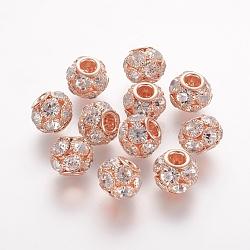 Латунные бусины, со стразами классом a , рондель, розовое золото , кристалл, 12x10 мм, отверстие : 3 мм(RB-K050-12mm-A07)