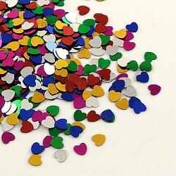 Accessoires ornement de perles de paillette en forme de coeur en plastique, perles de paillettes, aucun trou, couleur mélangée, 3x3x0.1 mm(X-PVC-Q024-3mm-M)