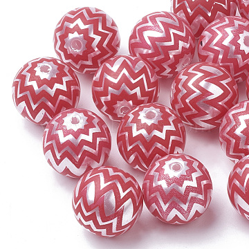 Printed Imitation Pearl Acrylic Beads, Round, Red, 20mm, Hole: 2.5mm(MACR-R558-01A)