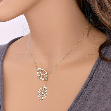 Simple Hollow Leaf Alloy Lariat Necklaces(NJEW-N0052-002A)-2