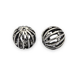 Perles filigranes creuses en laiton, perles rondes en carton ondulé, sans nickel, argent antique, 10mm, Trou: 1mm(KK-J187-50AS-NF)