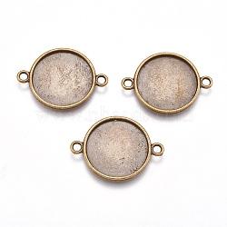 Тибетский стиль параметров соединителя плоские круглые кабошон, без свинца, без никеля и без кадмия, античная бронза, лоток : 18.5 мм; 29x21x2 мм, отверстие : 2 мм(X-TIBE-K011-29mm-AB-NR)