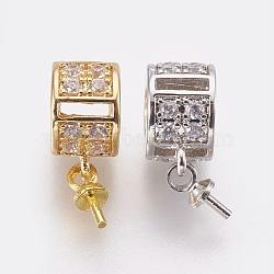 Laiton micro pavé zircon cubique tasse perle cheville bails broches pendentifs, pour la moitié de perles percées, anneau, clair, couleur mixte, 15mm, trou: 4 mm; broches: 1 mm(ZIRC-F089-11)