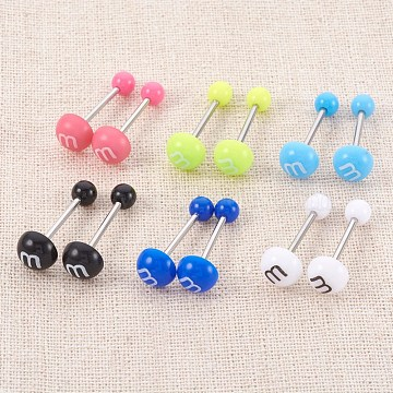 Acrylic Ear Fake Plugs Gauges, with 304 Stainless Steel Pin, Mixed Color, 24.5mm, Pin: 1mm(EJEW-L207-M)