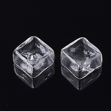 20mm Clear Square Glass Beads