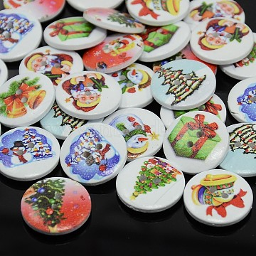 Holiday Buttons, 2-Hole Dyed Flat Round Printed Wooden Sewing Buttons for Christmas, Mixed Color, 15x4mm, Hole: 1.5mm(BUTT-P001-15mm-M)