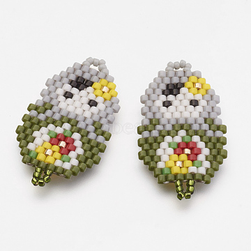 MIYUKI & TOHO Handmade Japanese Seed Beads Links, Girl Pattern, Olive, 30x17x2mm, Hole: 1~2mm(X-SEED-G002-232-1)