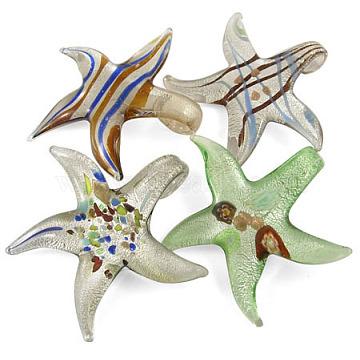 main feuille d'argent verre gros pendentifs, étoiles de mer, couleur mélangée, sur 50~60 mm de diamètre, trou: 8 mm(X-SLSP158Y)