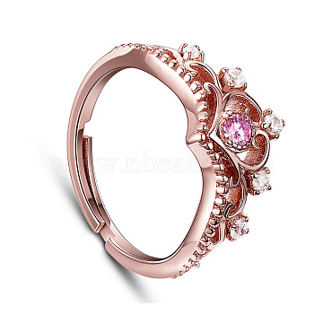 SHEGRACE Gorgeous Real Rose Gold Plated 925 Sterling Silver Finger Ring, Crown with Purple Tourmaline, 16mm(JR361A)
